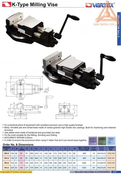 chi tiết Ê tô Vertex VK-4,VK-5,VK-6,VK-8