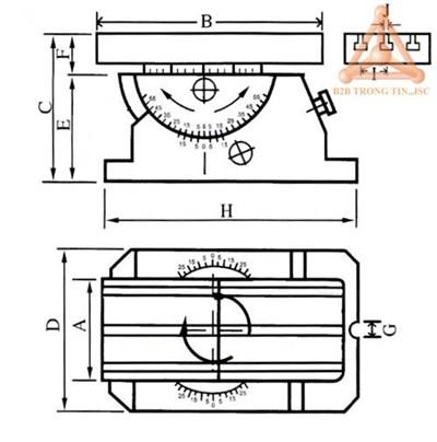 Bản vẽ bàn chia độ chính xác kiểu bàn máy mã VUA-4