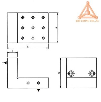 Bản vẽ dụng cụ đo góc vuông chính xác hãng vertex