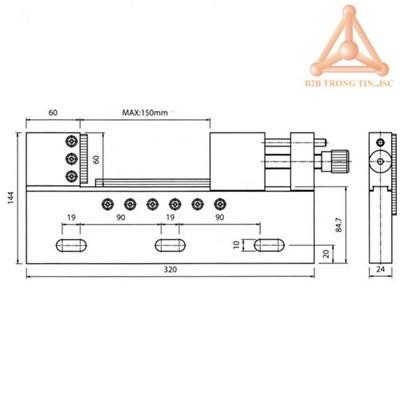 Bản vẽ Ê tô máy EDM mã VSTV-150W hãng Vertex