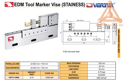 Chi tiết Ê tô máy EDM mã VSTV-150W hãng Vertex