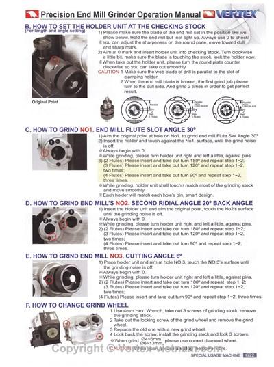 chi tiết Máy mài dao phay VEG-13A, VEG-25A