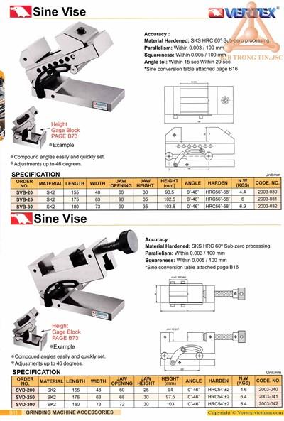 Chi tiết Ê tô nghiêng trên máy mài SVb hãng Vertex