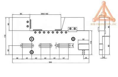 Bản vẽ Ê tô máy EDM mã VSTV-320W hãng Vertex