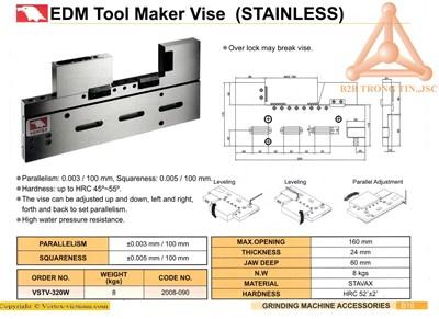 Chi tiết Ê tô máy EDM mã VSTV-320W hãng Vertex