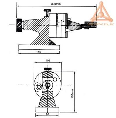 Bản vẽ thiết bị điều chỉnh góc mài mã V-TDB hãng V