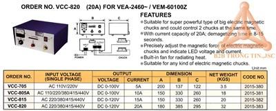 Chi tiết bộ điều khiển bàn từ điện mã VCC-820 hãng