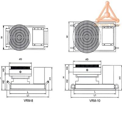 Bản vẽ bàn từ tròn quay vrm-8, vrm-10 hãng Vertex