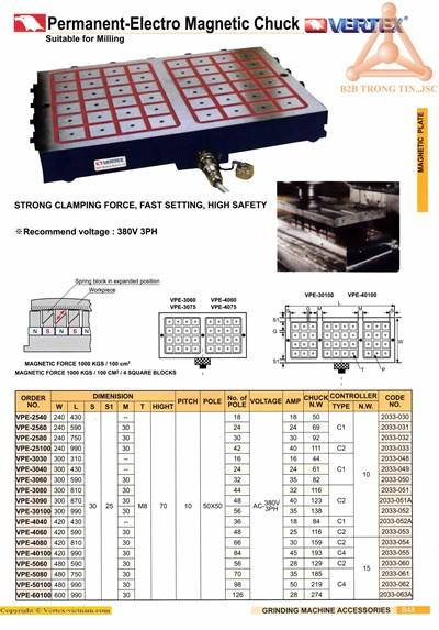 Chi tiết bàn từ điện máy phay - Vertex