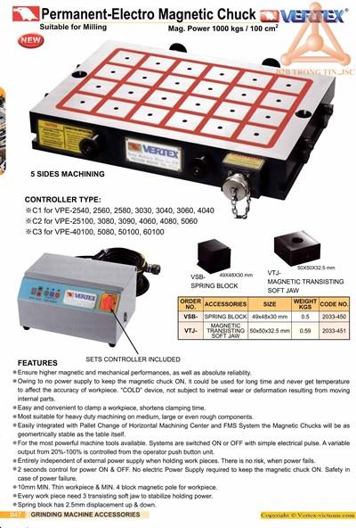 Chi tiết bàn từ điện máy phay VPE hãng Vertex