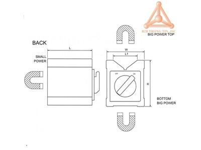 Bản vẽ khối V từ tính hãng Vertex