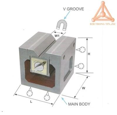 Bản vẽ khối V từ tính VCP-40 hãng Vertex