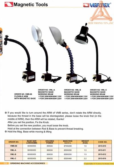 chi tiết Chân đế từ gá đèn chiếu sáng Vertex