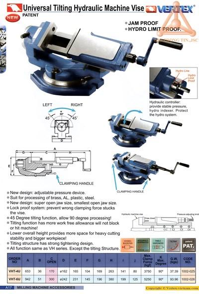 Chi tiết ê tô thủy lực nghiêng hãng Vertex