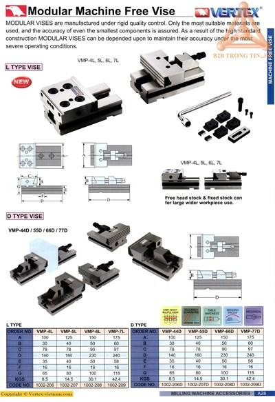 Chi tiết Má kẹp ê tô modul hãng Vertex
