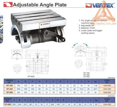 Chi tiết Bàn máy điều chỉnh góc nghiêng hãng Verte