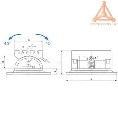 Bản vẽ Bàn máy điều chỉnh góc nghiêng có đế xoay h