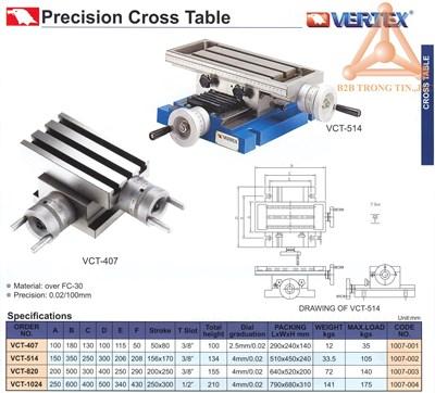 Chi tiết bàn máy phay chữ thập chính xác vertex
