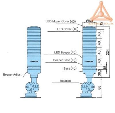 Bản vẽ Bộ tín hiệu đèn LED chống nước hãng Vertex