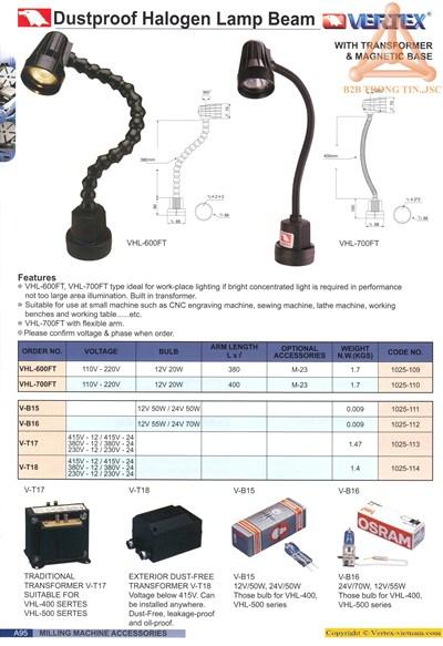 Chi tiết bộ đèn halogen chống bụi hãng Vertex