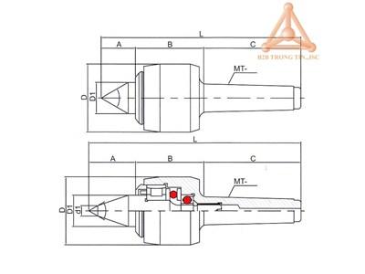 Bản vẽ mũi chống tâm quay tốc độ cao hãng Vertex
