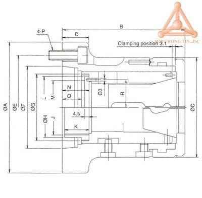 Bản vẽ Mâm cặp dùng collet kẹp trên máy tiện Verte