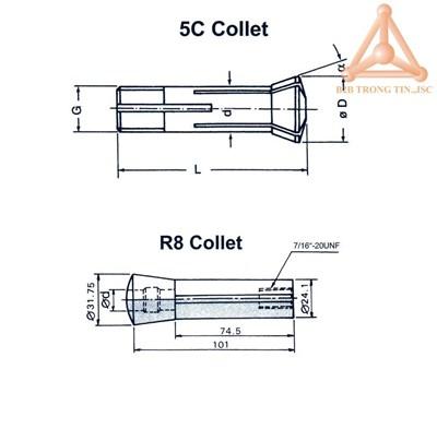 Bản vẽ Collet 5C và R8