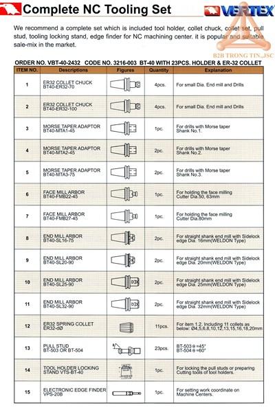 Chi Tiết Bộ bầu kẹp hoàn chỉnh mã VBT-40-2432